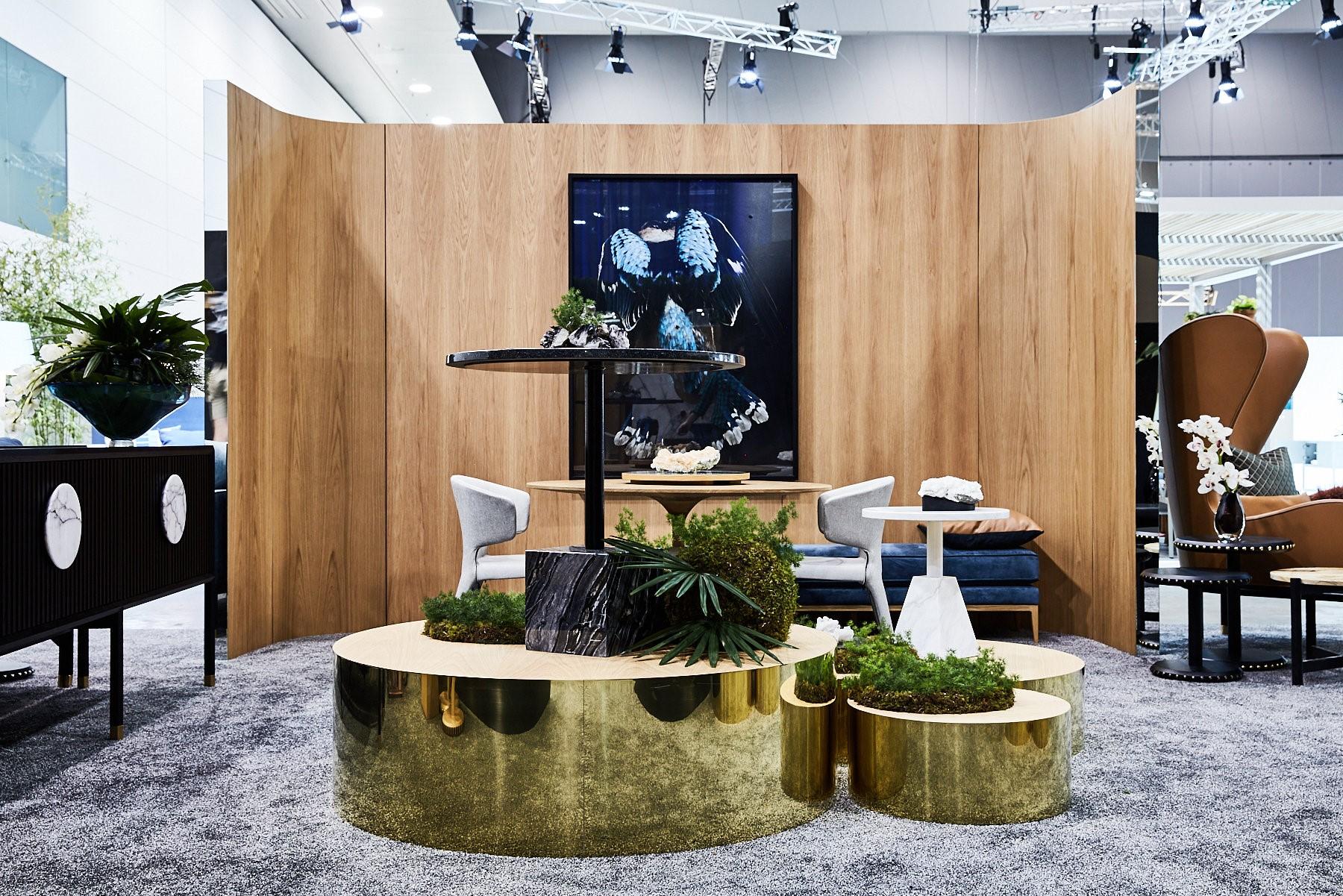 Halo Buffet, New Gem Outdoor tables, Sabrina Ottoman & Kookaburra Artwork Gary Heery