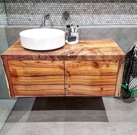 Wild About Wood Tasmanian blackwood floating vanity unit - Featured in the winning bathroom from Josh and Elyse on The Block.